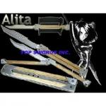 "Butterfly Knife | Damascus Balisong Sword | Replica of ""Battle Angel Alita"" Blade"