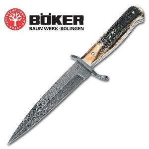 Boker Damascus Stag Trench Fixed Blade