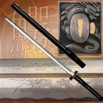 Masahiro Ninja Katana Sword | High Carbon Etched Steel Blade w/ Black Dragon Scabbard