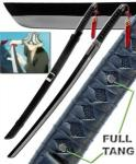 Kisuke Urahara Shikai Katana Sword, Black | Japanese Anime Bleach Replica w/ Belt & Scabbard