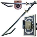 Fantasy Bleach Izuru Kira Sword, Hook Blade | Japanese Anime Wabisuke Zanpakuto w/ Display Plaque