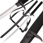 Death Fang Dark Ninja Katana, Black | Handmade Full Tang Sword w/ Back Strap Harness & Scabbard