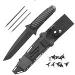 Ninja Tanto Knife w/ Caltrops, Shuriken Stars, Punch Dagger | Fantasy Master Recon Belt Sheath
