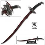 Red Dragon Sword Blade by Bud K | Fantasy Elven Scimitar w/ Magnetic Twin Blades, Display Stand