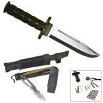 Jungle King Bowie Hunting Knife by Trademark | Fixed Skinning Blade w/ Survival Kit, Nylon Sheath
