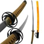 Handmade Samurai Sword by Trademark Global | Forged Steel Katana w/ Dragon Scabbard, Orange