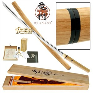 Ryumon Shirasaya Wood Katana, Full Tang